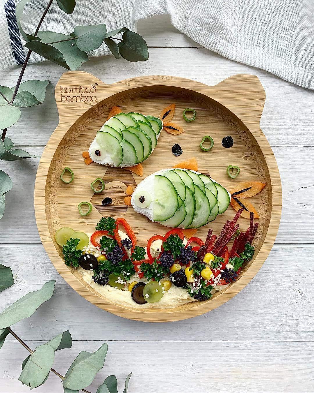 Baby Kleinkind Panda Saugnapfplatte mit Saugnapf nat/ürliches Bambus