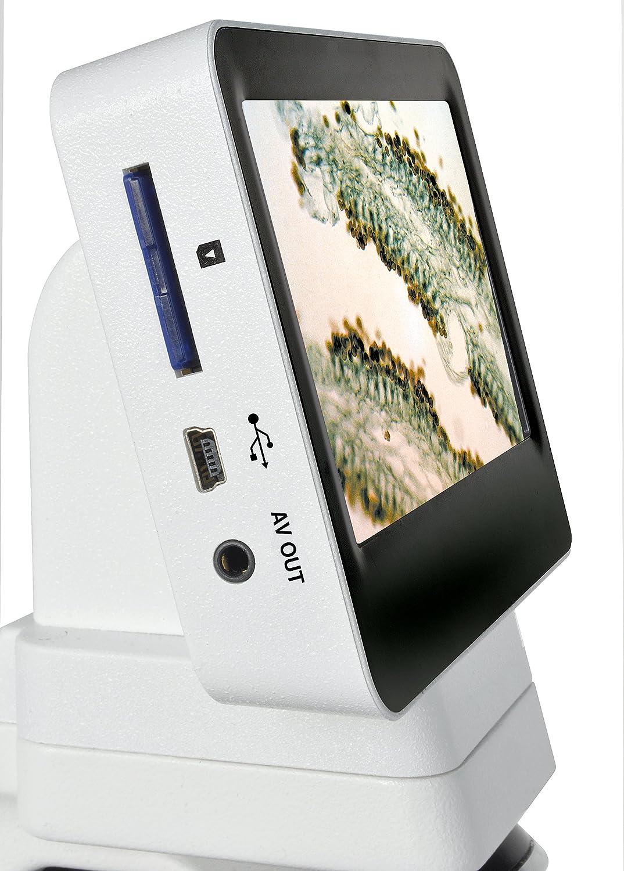 Bresser LCD Microscopio 40/x de 1400/x con Pantalla capacitiva USB AV out Ranura SD Blanco