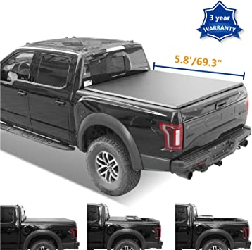 For 2007-2018 Chevy Silverado Soft Tri-Fold LOCK Tonneau Cover 5.8 Ft Short Bed