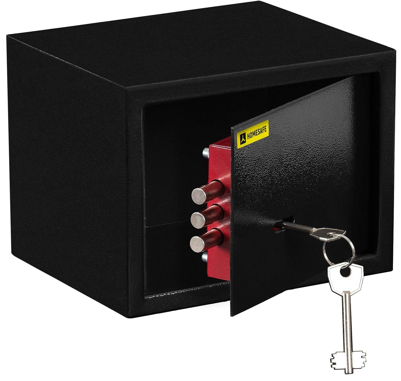 HomeSafe HV15K Coffre-Fort avec Serrure de Qualit/é Sup/érieure /à Cl/é 15x20x17cm HxWxD Satin Noir
