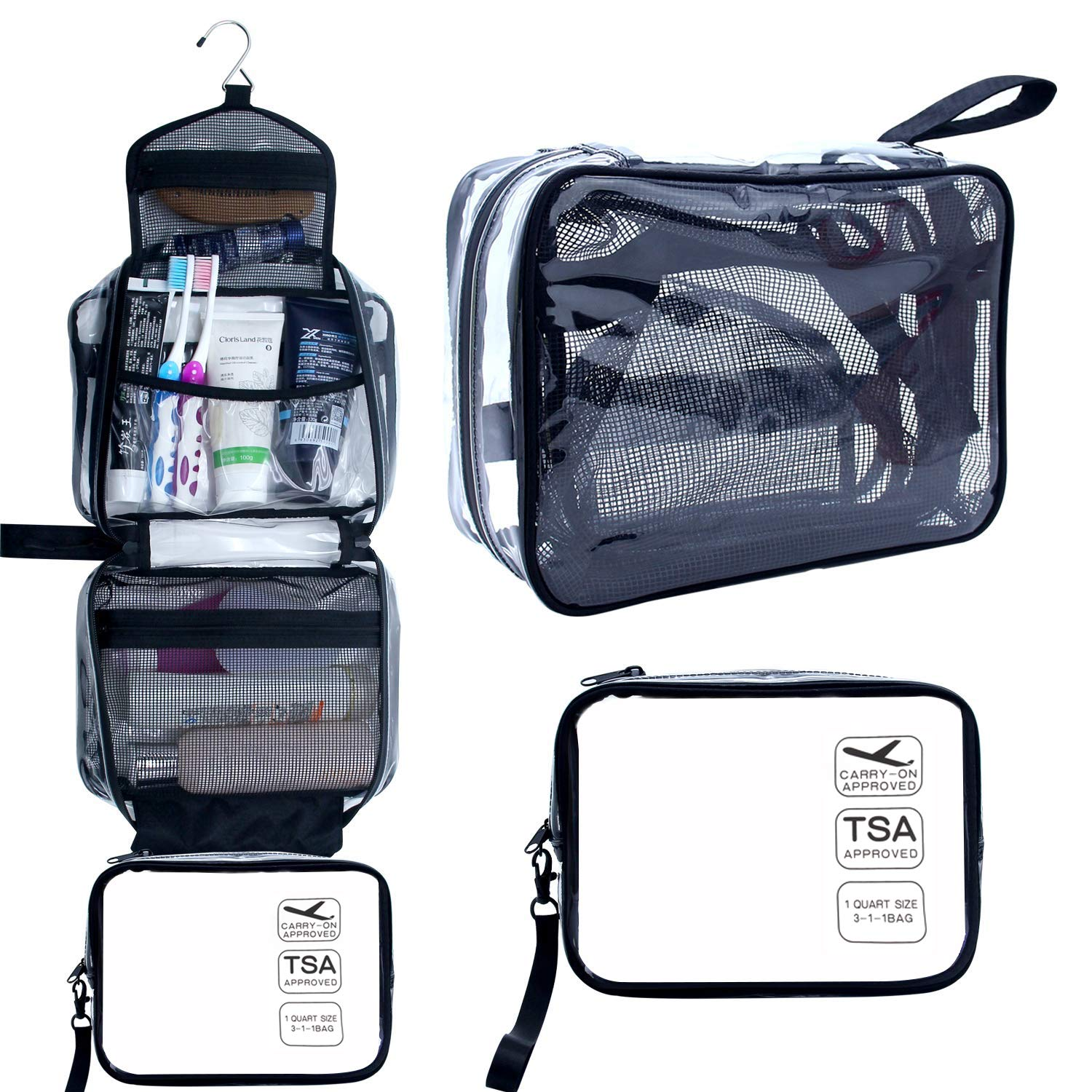 Hanging Toiletry Bag, Clear Travel Toiletry Bag with Detachable TSA Approved Small Clear Bag Airline 3-1-1 Carry On Compliant Bag Makeup Bag for Men and Women (Black)