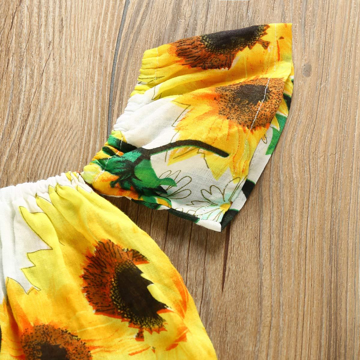 Toddler Kids Girls Sunflower Strap Tank Tops Bell-Bottom Wide Leg Pants Outfit Summer Clothes Two Piece Set