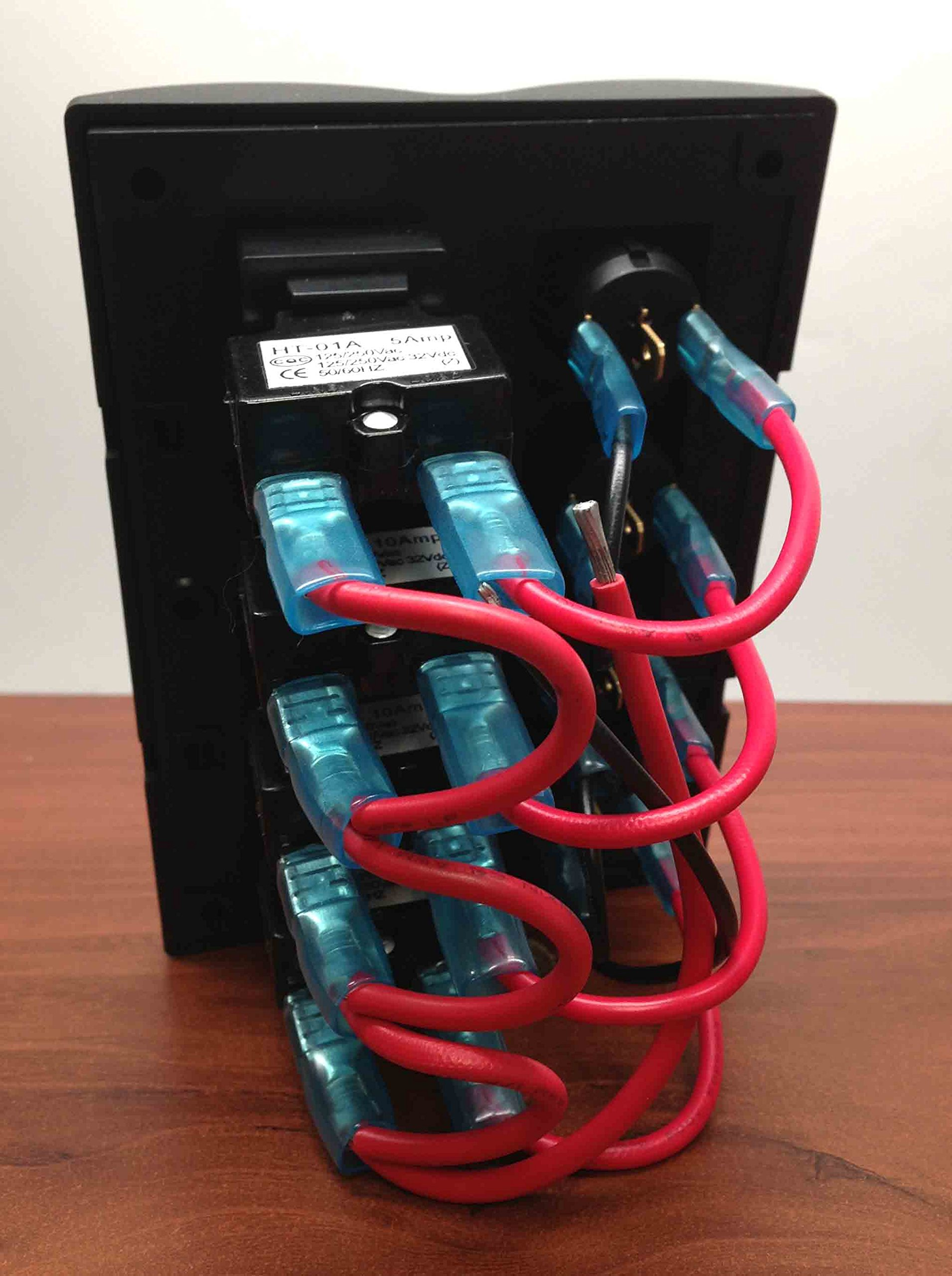 MARINE BOAT CIRCUIT BREAKER SWITCH PANEL 4 GANG WITH LED INDICATOR ROCKER