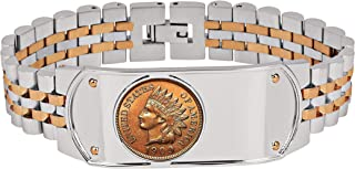 product image for Men's Two-Tone Stainless Steel Bracelet with Indian Head Penny Cent | Genuine United States Coin Over 100 Years Old | Men's Accessories - American Coin Treasures