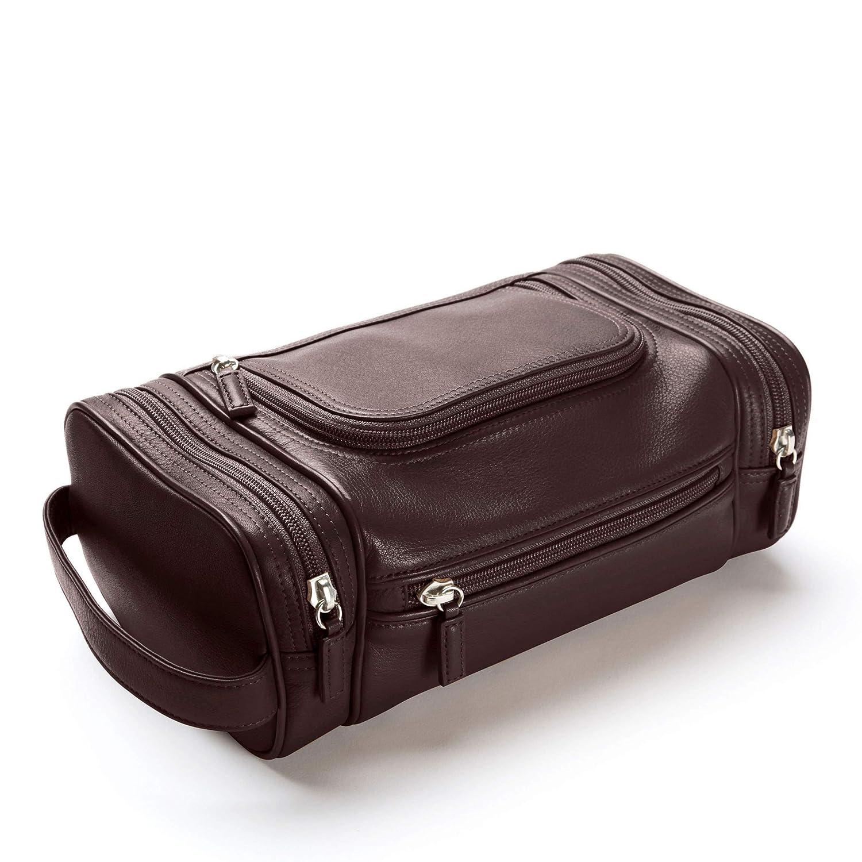 Leatherology Brown Multi Pocket Toiletry Bag