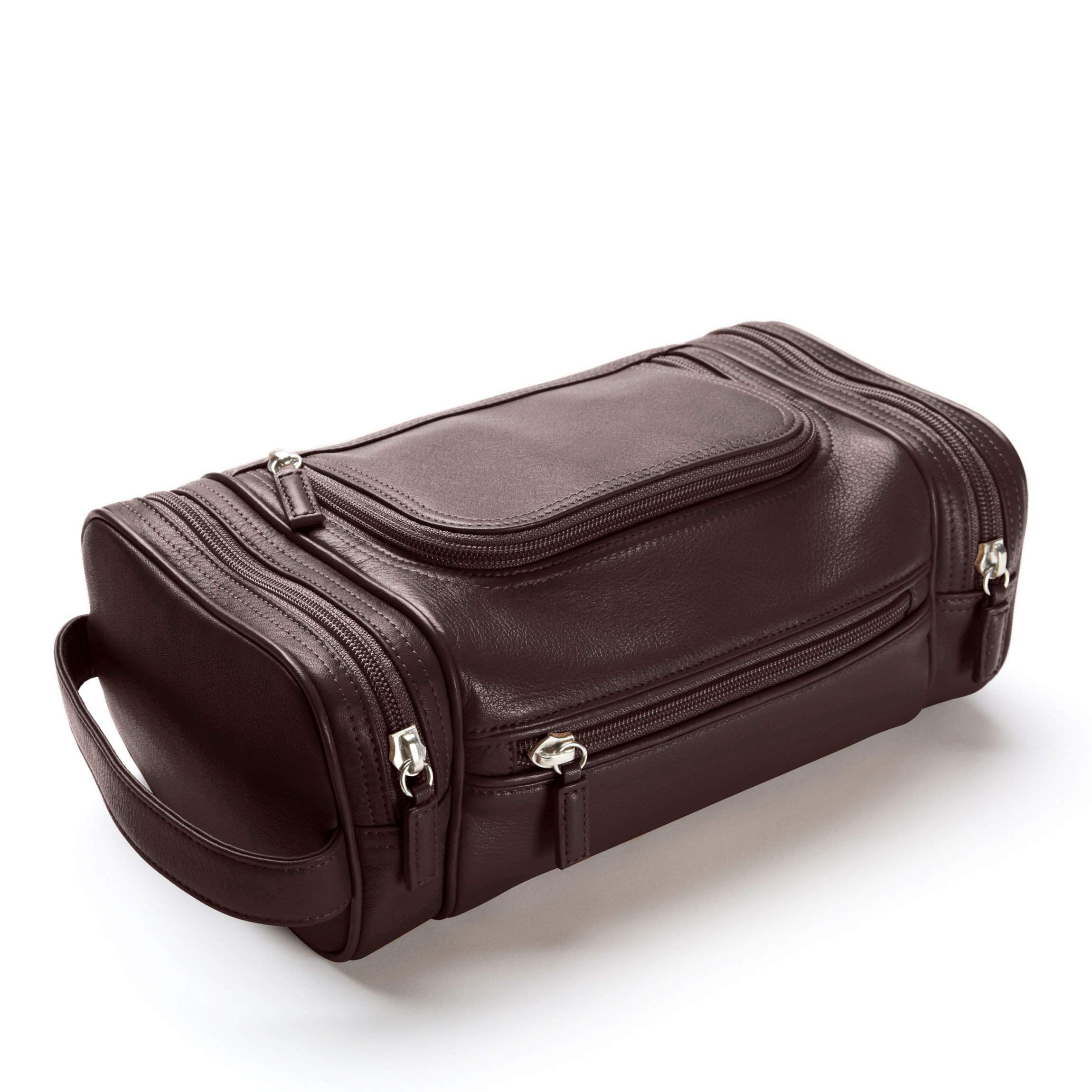 Multi Pocket Toiletry Bag - Full Grain Leather Leather - Brown (Brown)