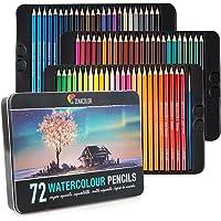⭐72 Crayons Aquarellables, Numérotés, avec Pinceau et Boite Métal Zenacolor - Set de Crayons de Couleur Aquarelle - 72 Crayon de Couleurs Solubles, Uniques et Différents, Coloriage Adulte, Artistes