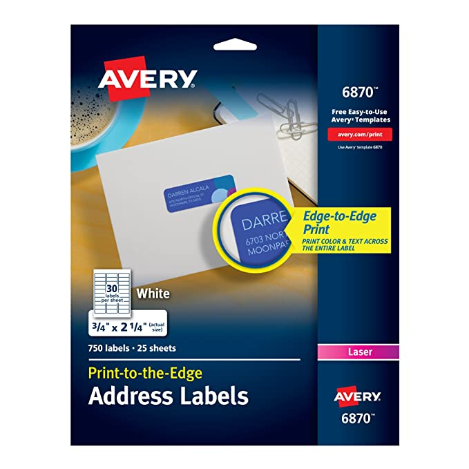 Amazon Avery White Laser Labels For Color Printing 3 4 X 2 1 750 Per Pack 6870 Office Products