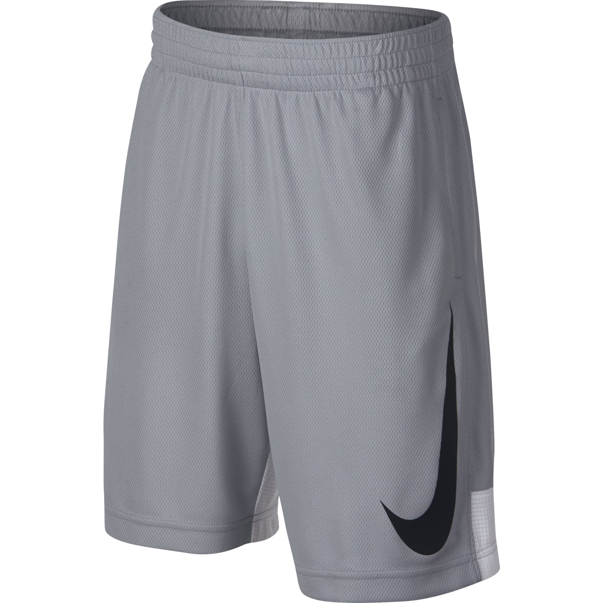 NIKE Boys' Dry HBR Athletic Shorts, Wolf Grey/White/White/Black, Large