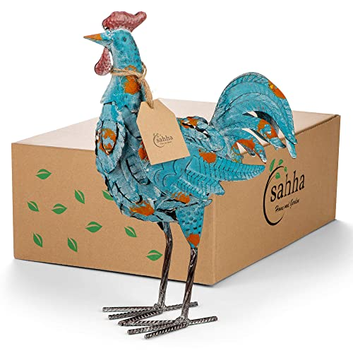 Decorative Metal Rooster, Blue, 14.5 , for Home, Kitchen, Dining Room Decor – Rooster Statue Figurines – Farmhouse Chic, Colorful, Rustic – Vintage Roosters for Countertops – Garden Ornament