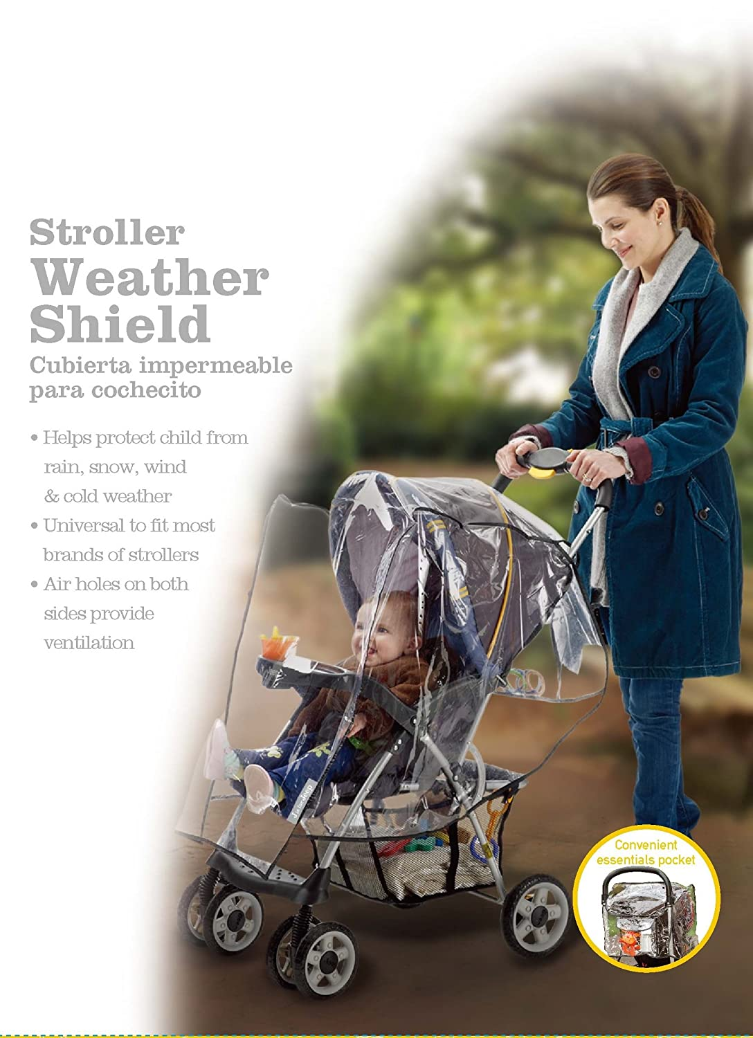 Tandem Stroller Rain Cover Tandem Stroller Weather Shield Waterproof Double Stroller Accessories Baby Rain Cover Jeep Double Stroller Rain Cover Windproof Universal Size