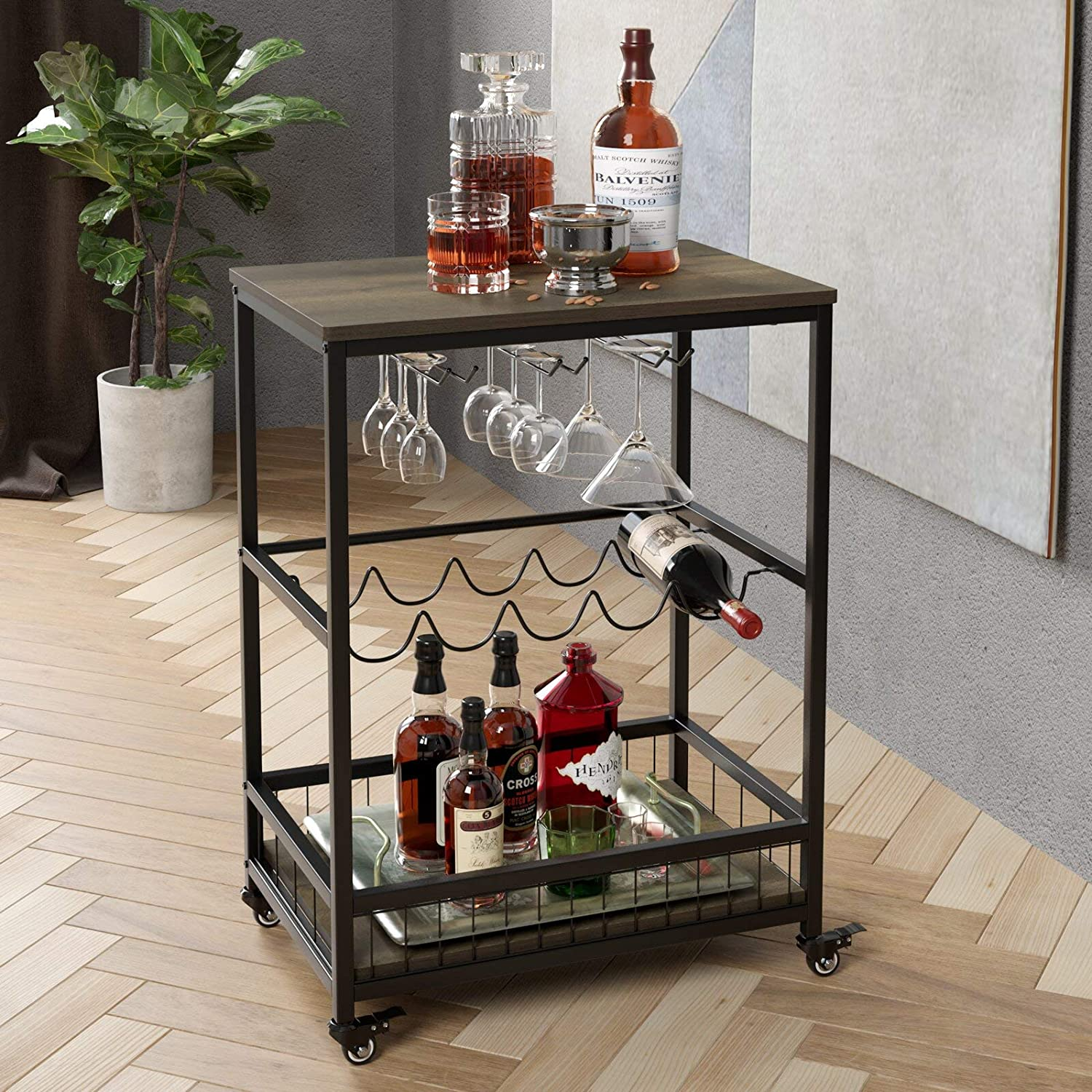 HOMECHO Bar Carts for Home, Mobile Wine Cart on Wheels, Wine Rack Table with Glass Holder, Utility Kitchen Serving Cart with Storage, Wood and Metal Frame,Dark Brown
