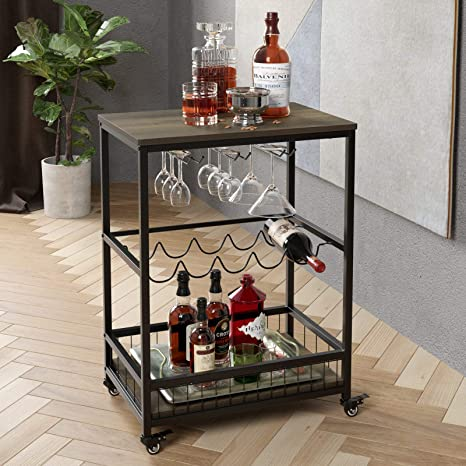 Homecho Bar Carts For Home Mobile Wine Cart On Wheels Wine Rack Table With Glass Holder Utility Kitchen Serving Cart With Storage Wood And Metal Frame Dark Brown Bar
