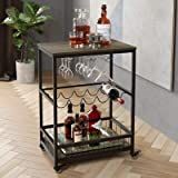 HOMECHO Bar Carts for Home, Mobile Wine Cart on Wheels, Wine Rack Table with Glass Holder, Utility Kitchen Serving Cart with