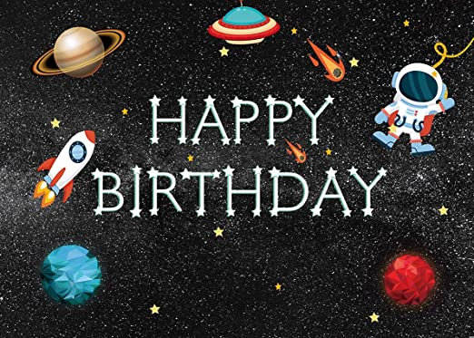 7x10 FT Kids Birthday Vinyl Photography Backdrop,Space Lover Theme Astronaut with Party Balloons on Blue Colored Backdrop Background for Baby Shower Bridal Wedding Studio Photography Pictures