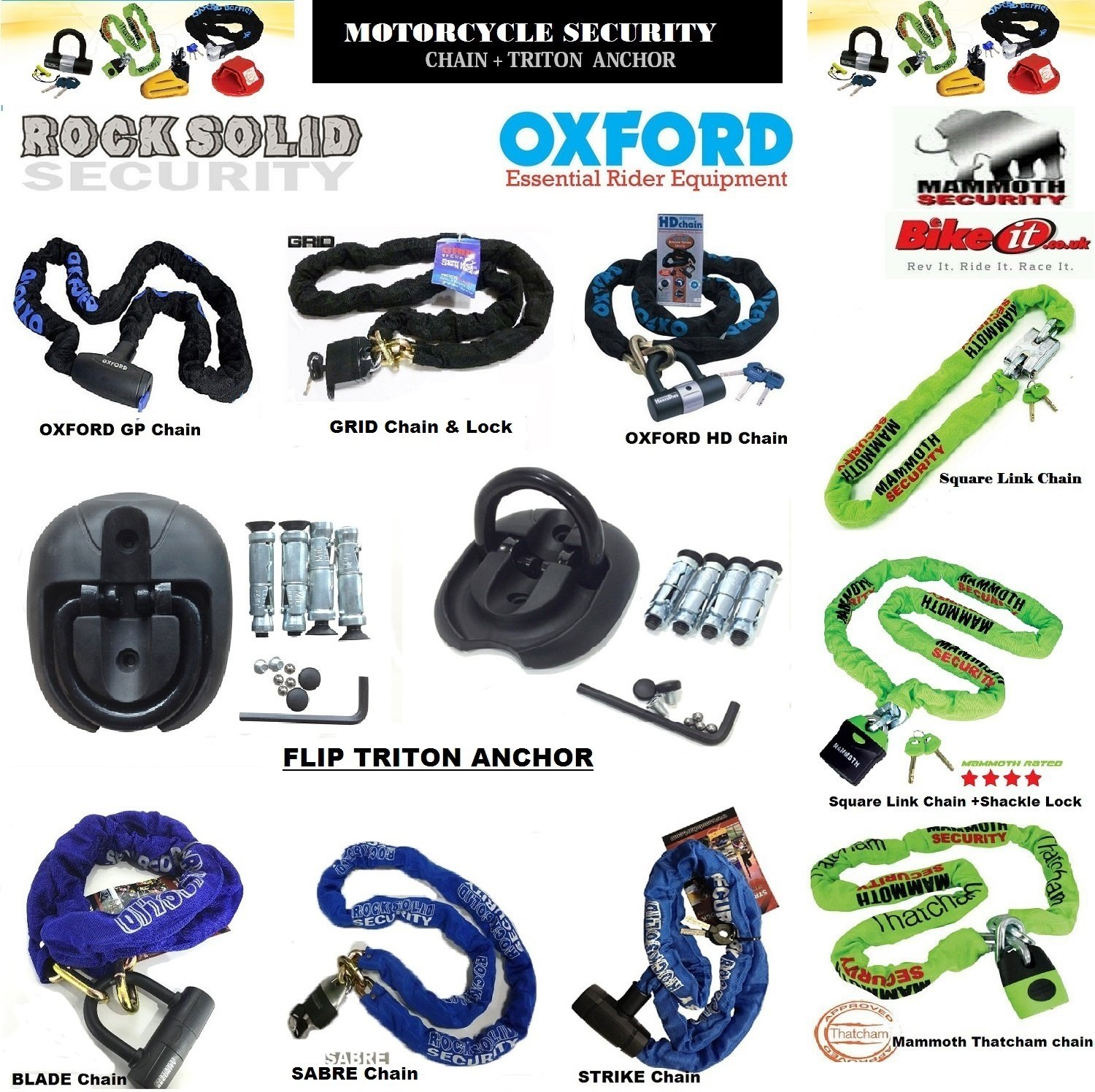 Motorbike Motorcycle Scooter Chain & Padlocks XTRM GRID OXFORD BIKEIT ROCKSOLID Thatcham Approved Mammoth Heavy Duty Chain Locks Anti-Theft Security + Rocksolid TRITON Ground Wall Anchor
