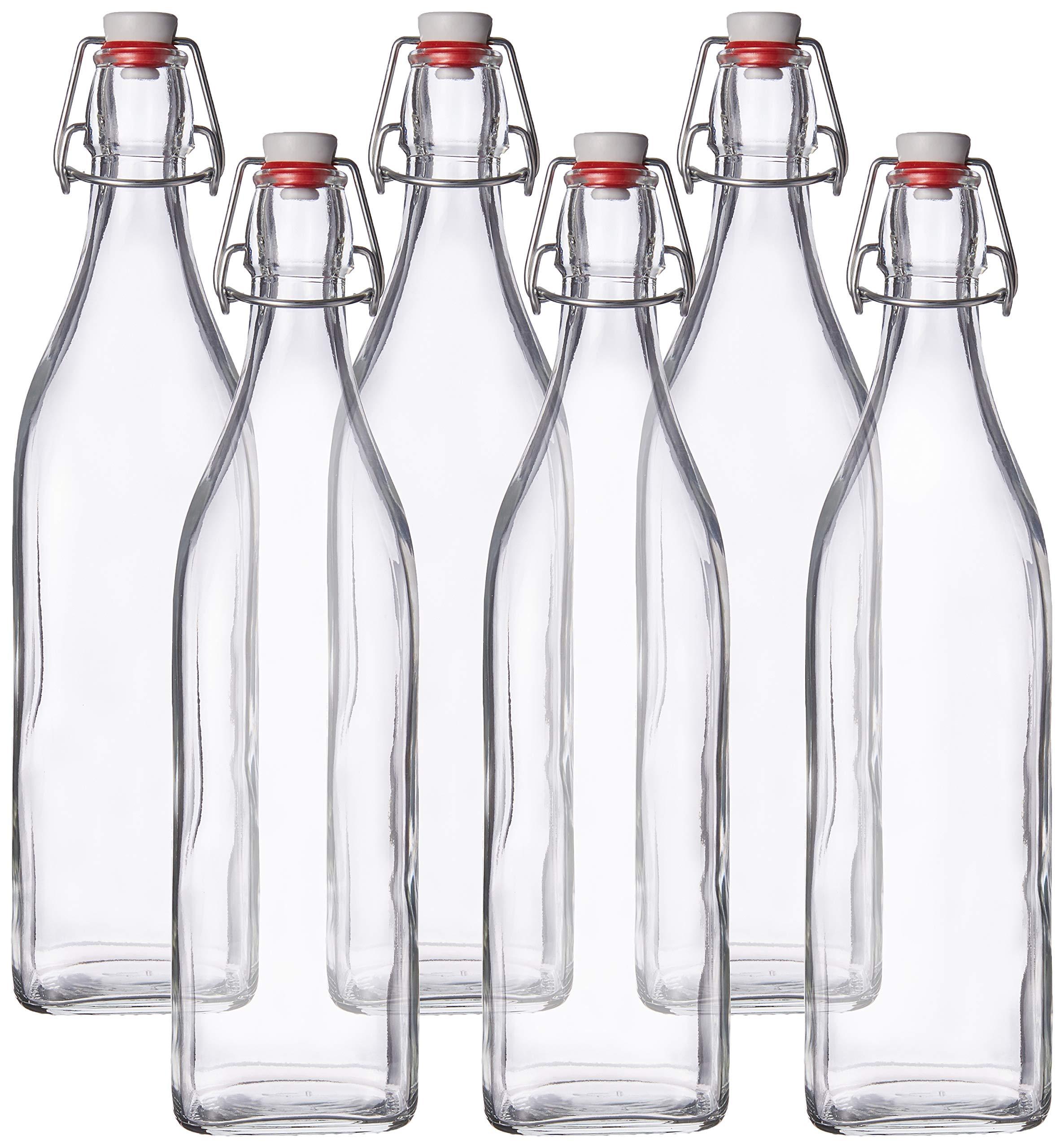 Bormioli Rocco Swing Top Round Glass Bottle, 6, Clear by Bormioli Rocco
