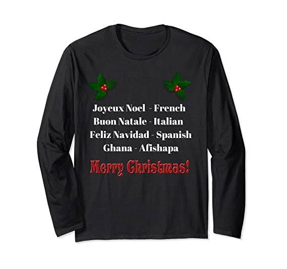 Buon Natale Meaning In English.Amazon Com Merry Christmas In Different Languages T Shirt Clothing