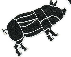 牛と豚の肉切り図セット 刺繍入り アイロン接着 (2つのパッチ)