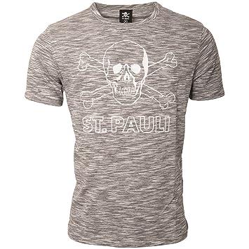 7d2e33bb024798 FC St. Pauli Herren T-Shirt Oberteil Bekleidung Fanartikel Salt Pepper Grau  Meliert Totenkopf