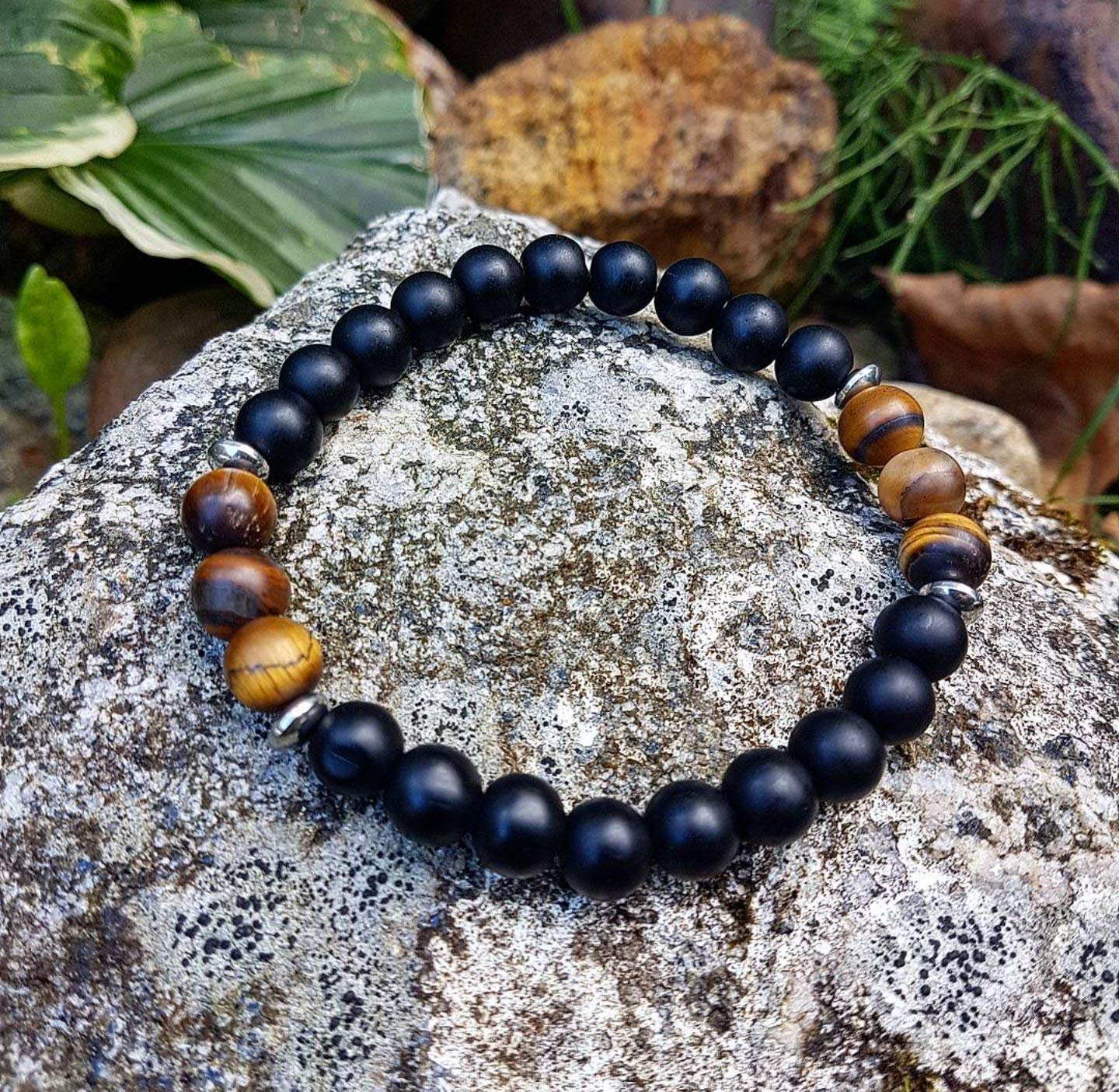 Strength of a tiger - Handmade natural semi-precious healing gemstones crystals stretch bracelet made of black mat onyx and mat tiger's eye 8mm beads men women unisex