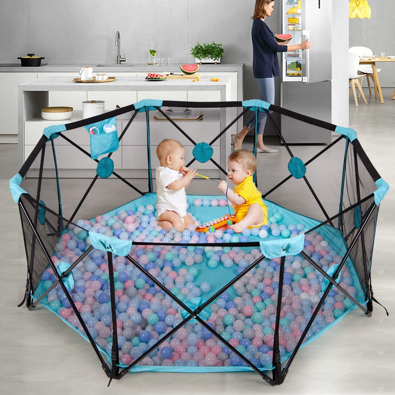 APAN Baby Playpen,8 Panel Foldable and Portable Play Yard for Baby Toddlers,Large Activity Centre with Breathable Mesh and Storage Bag,Indoor/&Outdoor Safe Playard Blue