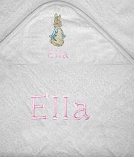 Girls Peter The Rabbit Personalised 100% Soft Cotton Hooded Towel. (White) 71e4fa55ead60