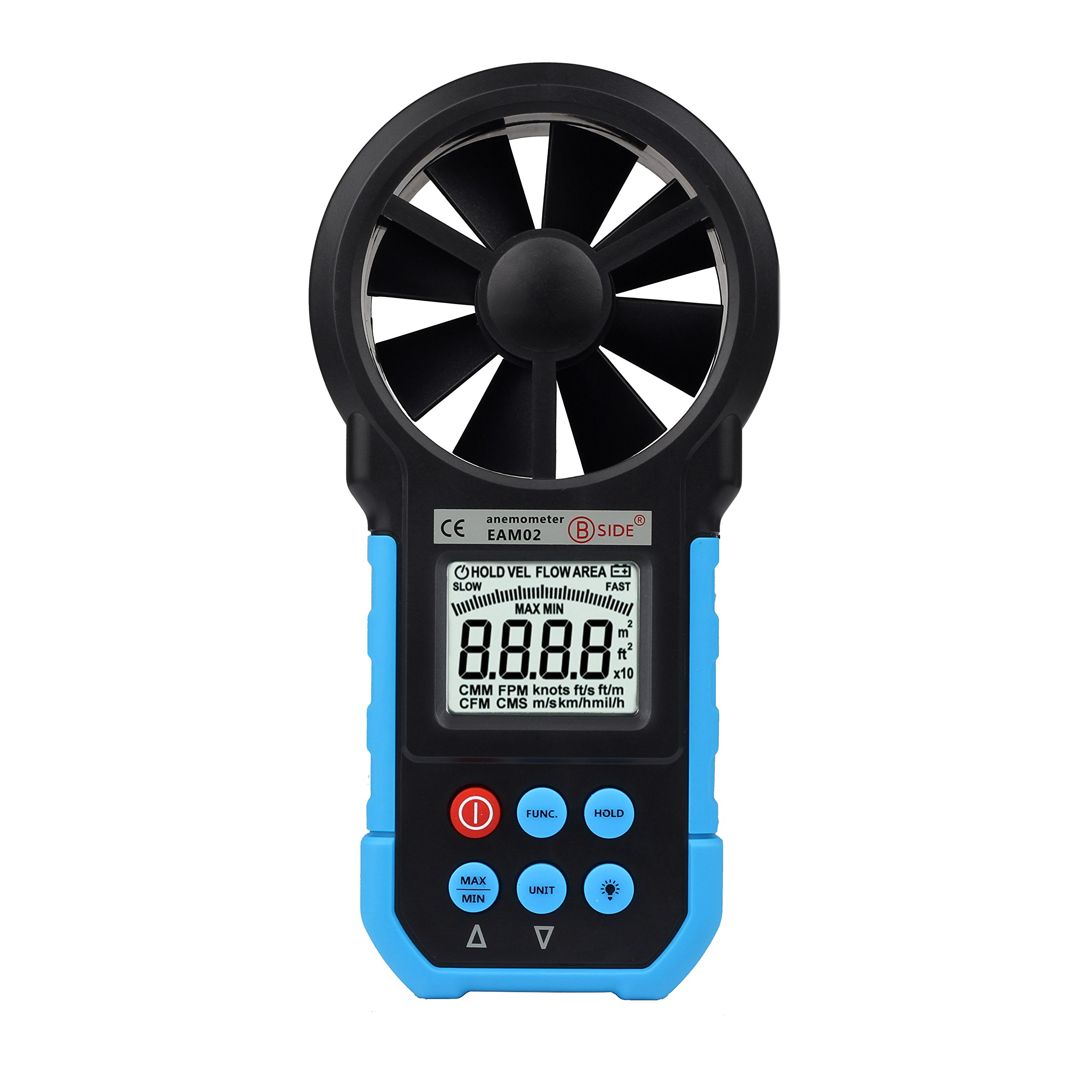 BSIDE EAM02 Handheld Digital Anemometer Wind Speed Meter Environmental Tester with Bar Graph Blue