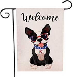 Ogiselestyle Welcome Garden Flag Double Sided Cute Boston Terrier Celebrating Yard Outdoor Flag 12 x 18 Inch