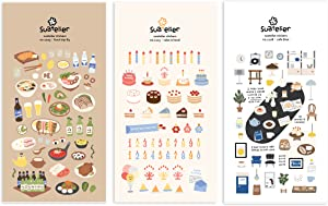 Suatelier Cute Deco Korean Sticker Stationary for Scrapbooking Album Bullet Journal Diary Planner DIY Craft | Food Trip #3, Cake is here!, café Blue (3 Stickers)