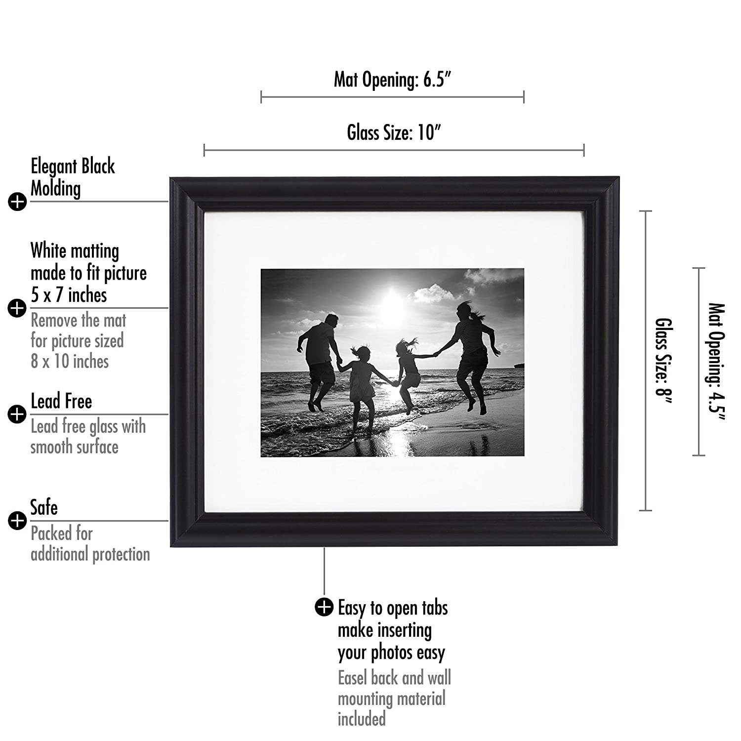 Amazon 8x10 black picture frame made to display amazon 8x10 black picture frame made to display photographs 5x7 or 8x10 without mat with easel stand highest quality materials display on wall jeuxipadfo Image collections
