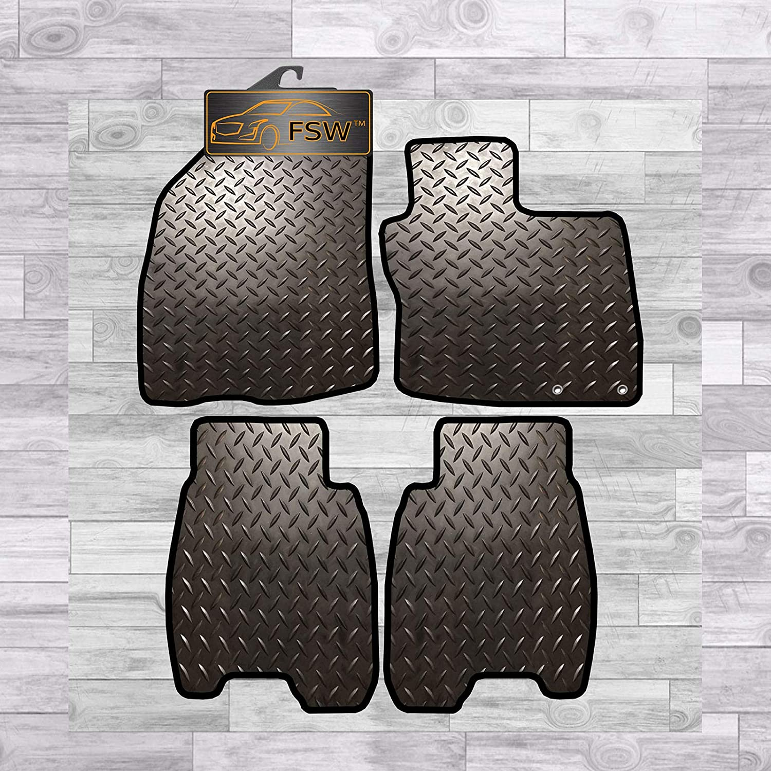 FSW Civic 2008-2012 3//5 Dr Clips Tailored 3MM Waterproof Rubber Heavy Duty Car Floor Mats