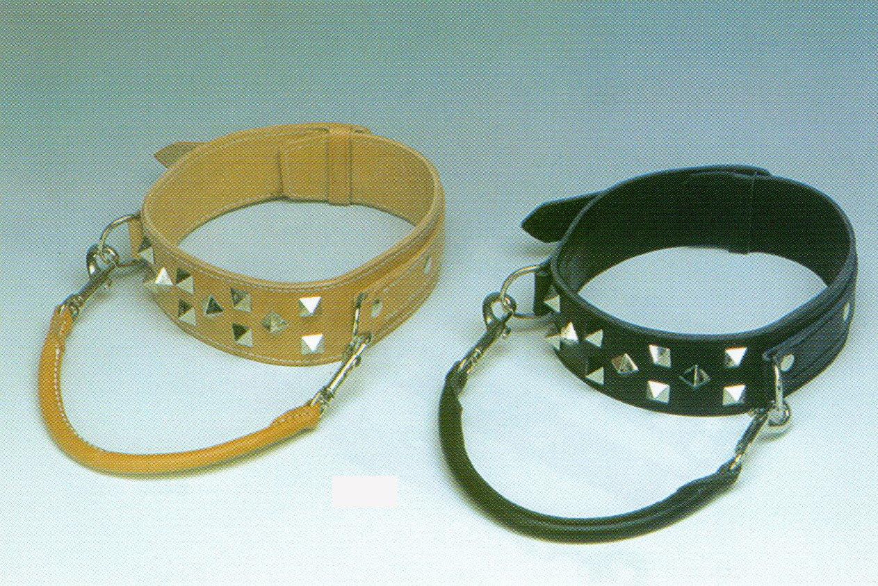 Heim 9613320C Halsband aus Leder für Doggen, mit Zierbeschlägen, 60 mm breit, 65 cm lang, natur