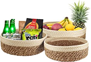 Natural Seagrass Woven Basket Hand Woven Round Baskets, Handmade Natural Paper Rope Bread Fruit Snack Food Organizing Bowls, Decorative Storage Basket for Kitchen, Living Room, Dining-Table, Set of 3