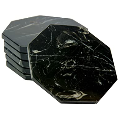 CraftsOfEgypt Set of 6 - Black Marble Stone Coasters Polished Coasters 3.5 Inches (9 cm) in Diameter Protection from Drink Rings