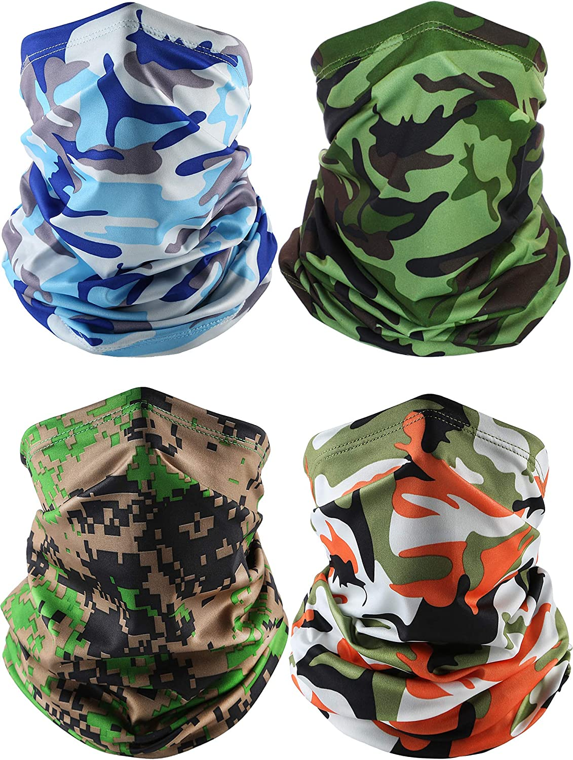 4 Pieces Summer Face Cover Scarf Neck Gaiter Cooling Sunblock Bandana