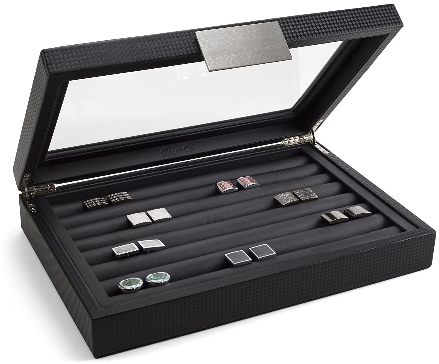 Glenor Co Cufflink Box for Men - Holds 70 Cufflinks - Luxury Display Jewelry Case -Carbon Fiber Design - Metal Buckle Holder, Large Glass Top - Black
