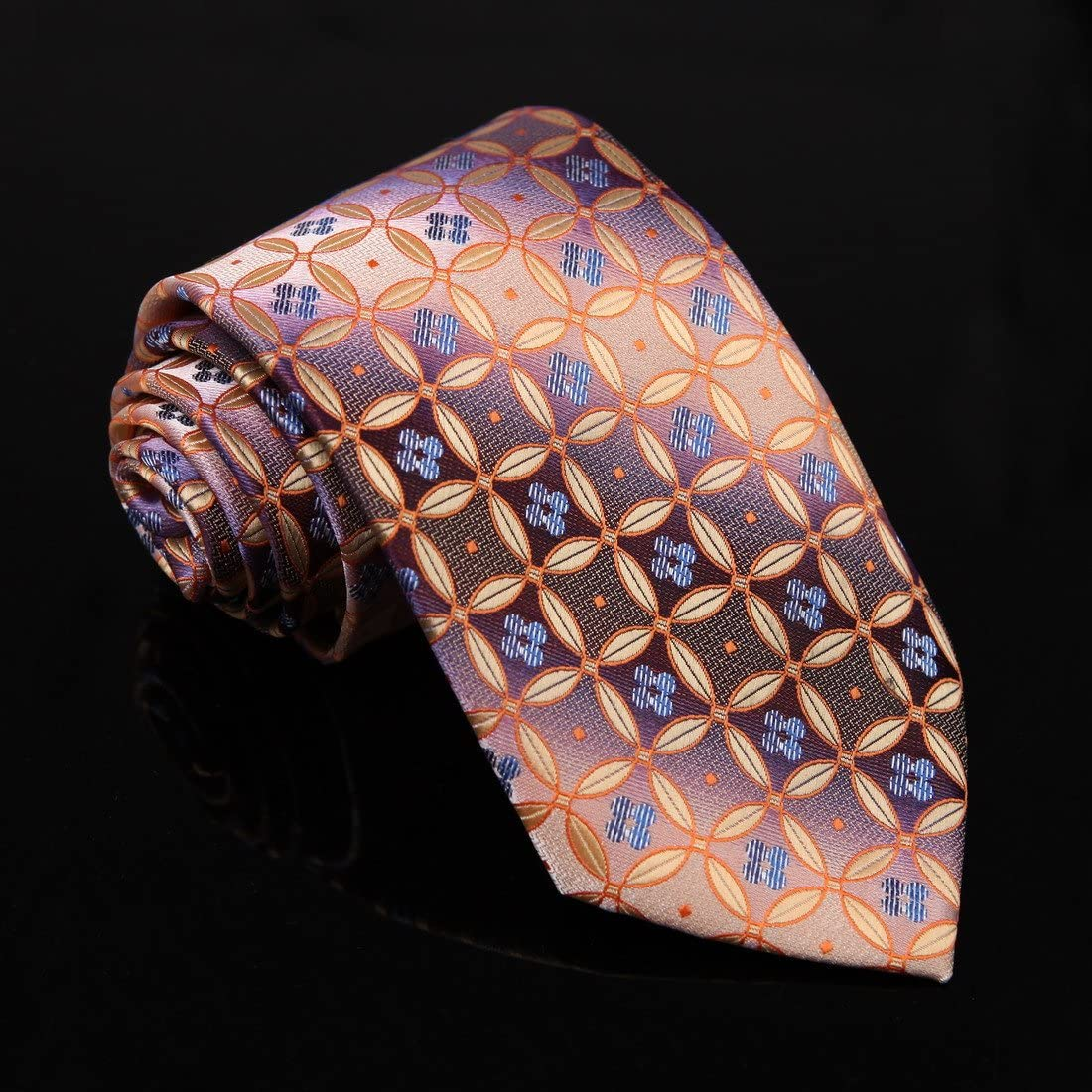 DAA7B25B Indigo Pink Blue Patterned Microfiber Tie Friendship For Formal Neck Tie By Dan Smith
