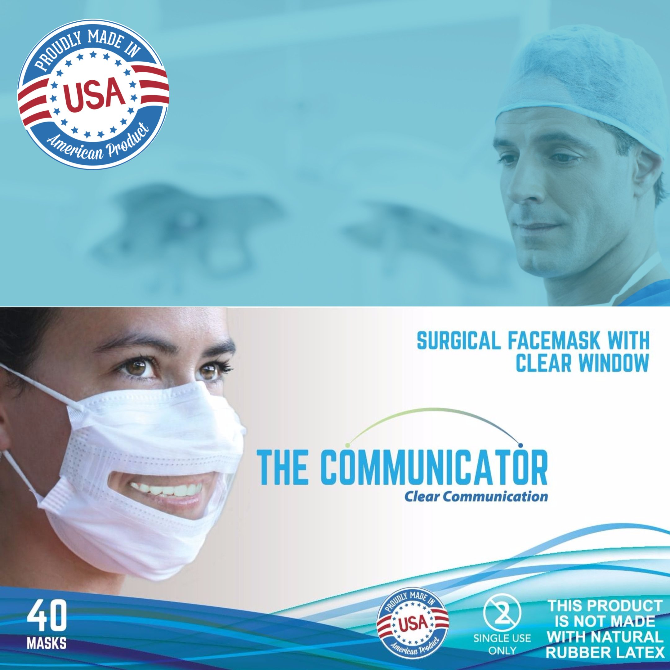 Communicator Surgical Face Mask with Clear Window (Easy Dispenser Box of 40 Masks) FDA Registered by Safe'N'Clear