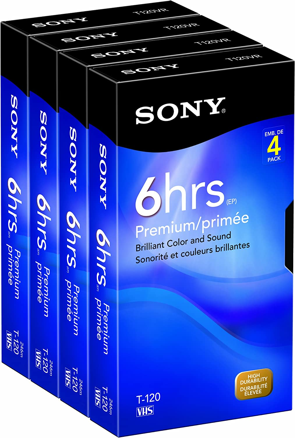 Sony 4T120VRC 4-Pack 120-Minute VHS Tapes (Discontinued by Manufacturer)