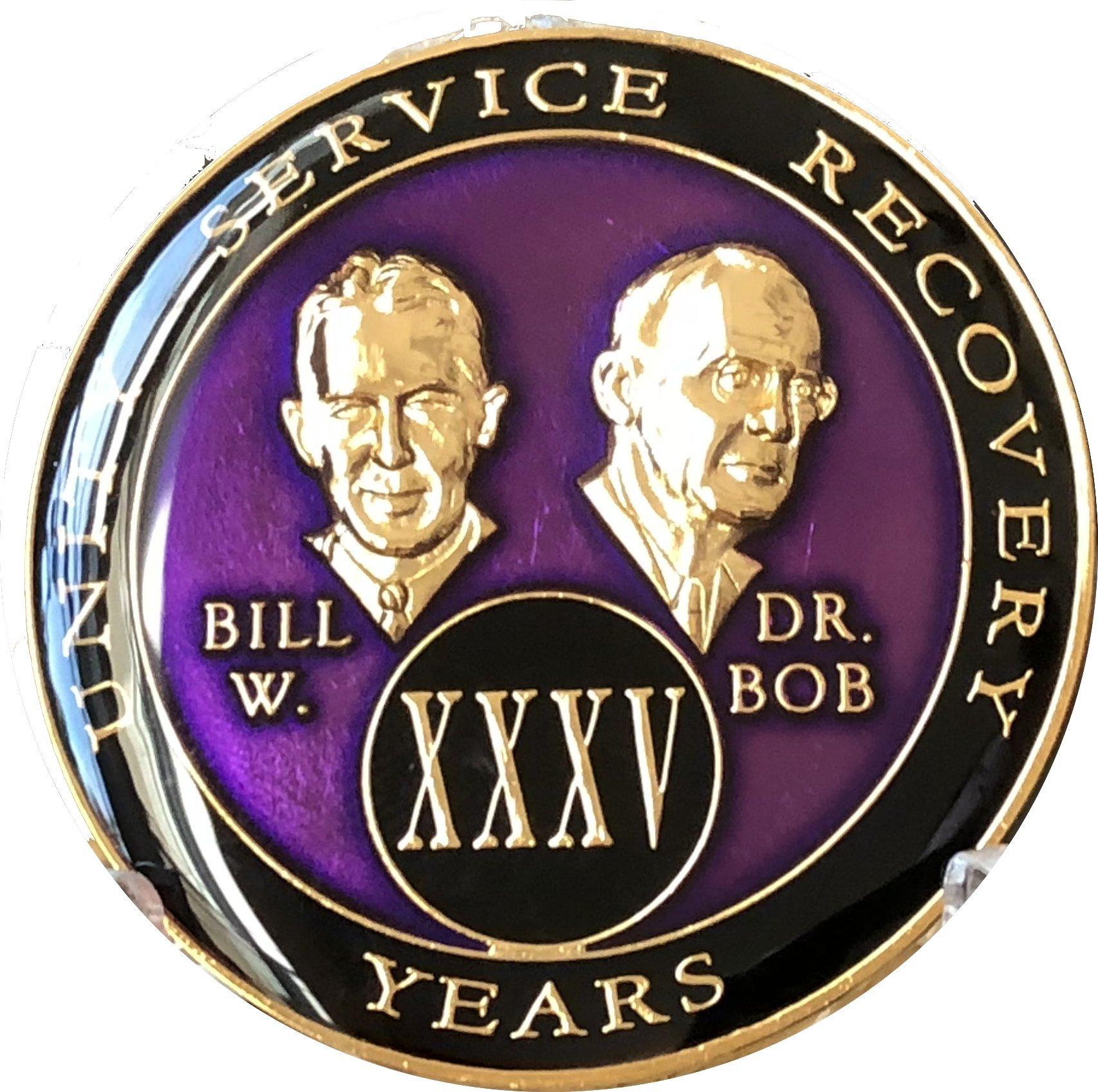 35 year AA Medallion Purple Tri-Plate Founders Bill & Bob Chip XXXV
