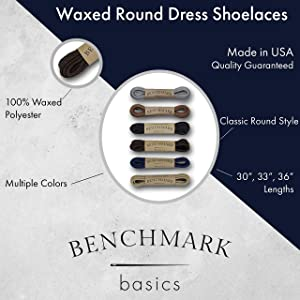 Benchmark Basics Dress Shoe Laces - Round Waxed - 2.5mm Width (33, Black) (Color: Black, Tamaño: 33 inches)