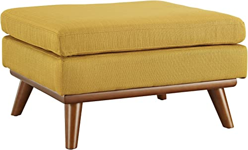 Modway Engage Mid-Century Modern Upholstered Fabric Ottoman in Citrus
