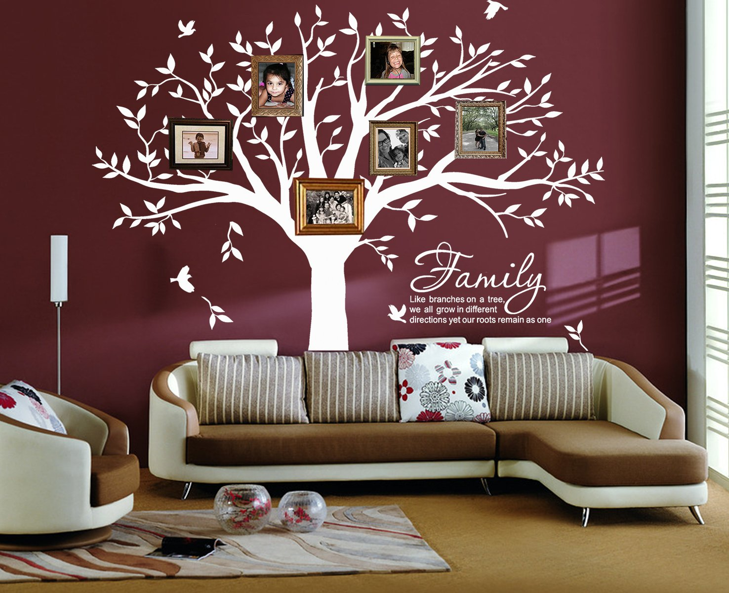 LSKOO Large Family Tree Wall Decal Family Like Branches on a Tree Wall Decals Wall Sticks Wall Decorations for Living Room (White)