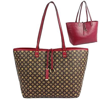 aac7319f Shoulder Bag for Women Reversible Tote Bag Pu Leather Ladies Purse Handbags