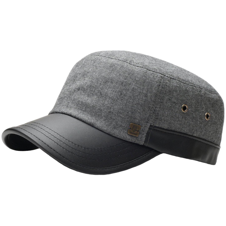 RaOn A69 Hazy Denim Style Faux Leather Design Jeans Feel Army Cap Cadet Military Hat (Free Size (M~L), Black)