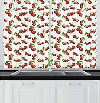 Ambesonne Fruit Kitchen Curtains, Cherry Pattern Design Fresh Berry Fruit  Summer Green Garden Macro Digital Print, Window Drapes 2 Panel Set for ...