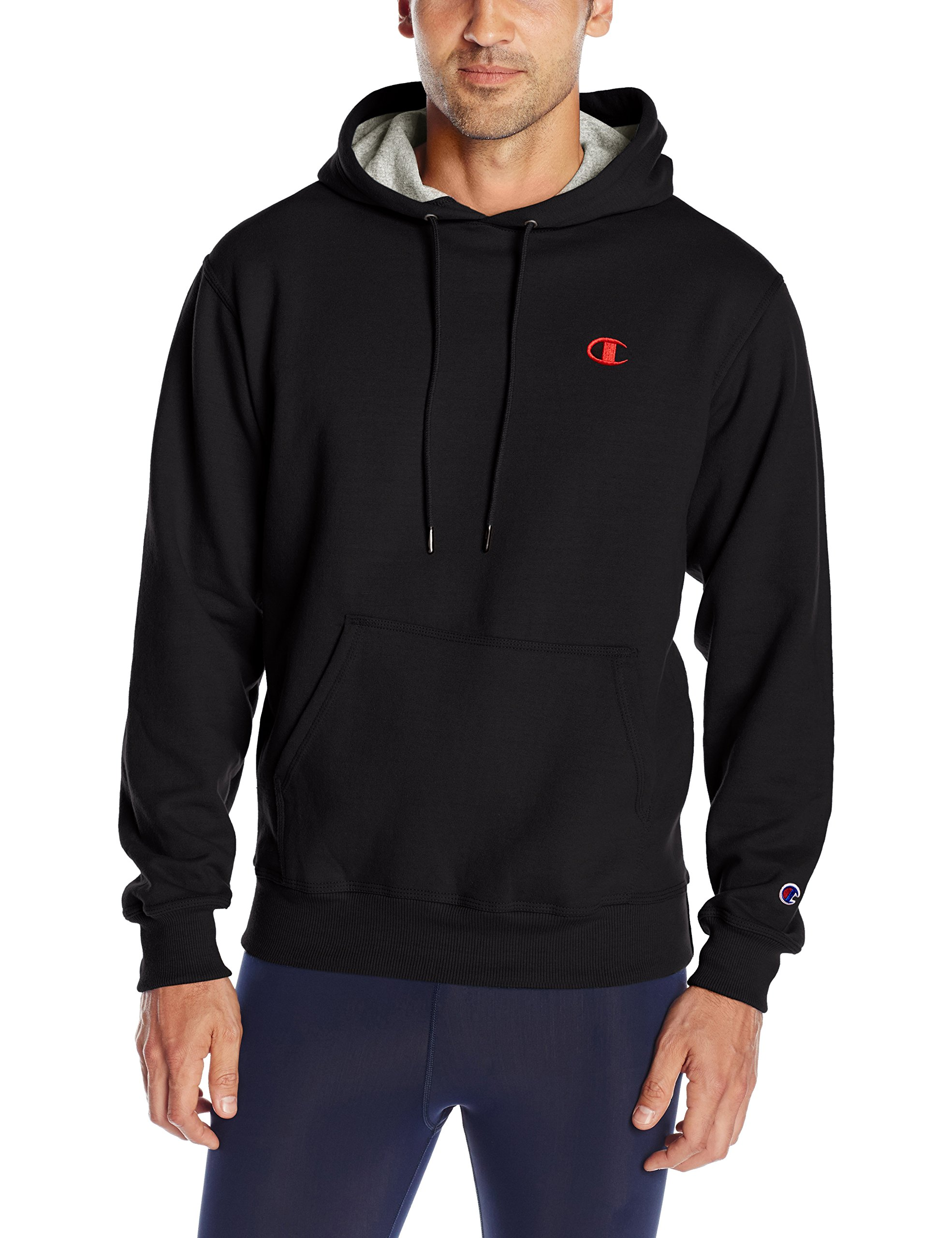 Champion Men's Powerblend Pullover Hoodie, Black/Team red Scarlet Embroidered c Logo, XX-Large by Champion