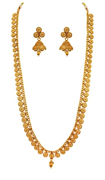 bbdee898c Jfl - Jewellery For Less Traditional Ethnic One Gram Gold Plated Designer  Long Necklace Set With