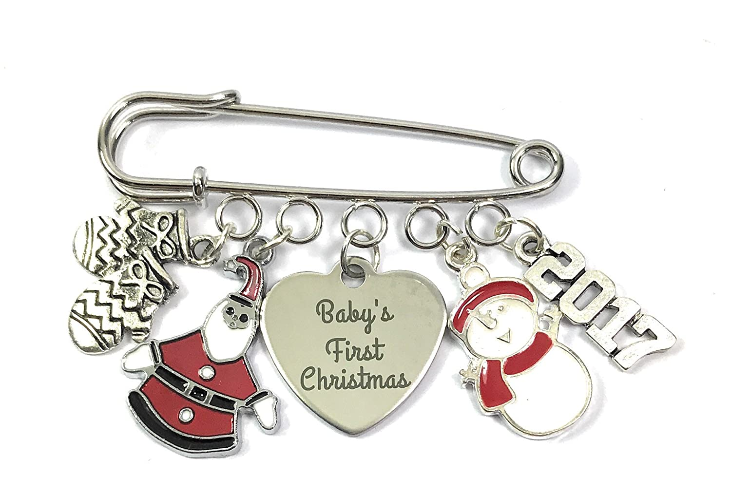 Baby's First Christmas Nappy Safety Pin Keepsake Charms with Letter Blocks, Snowman, Santa and Gloves Charms comes in an Organza Gift Bag Handmade by Libby's Market Place Libby's Market Place
